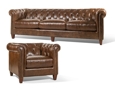 Cigar Leather Sofa and Chair