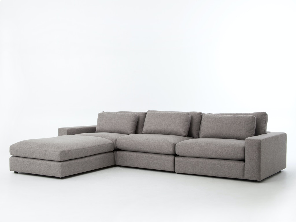 Four Hands Living Room Bloor Sofa W Ottoman Chess Pewter