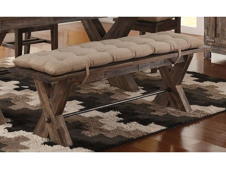 New Classic Living Room Park Dining Bench With Seat Cushion