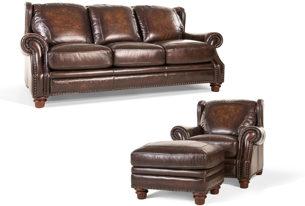 Futura Living Room Frankford Leather Sofa Chair And Ottoman