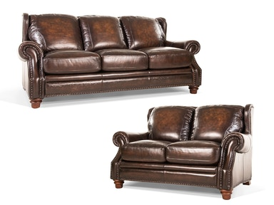 Frankford Leather Sofa and Loveseat