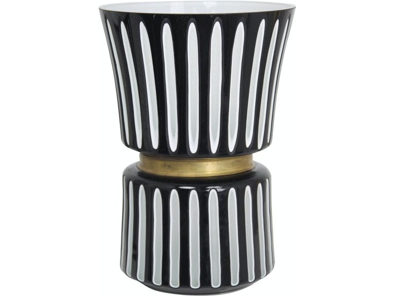 Harp And Finial Accessories Durban Black Vase Large Black White