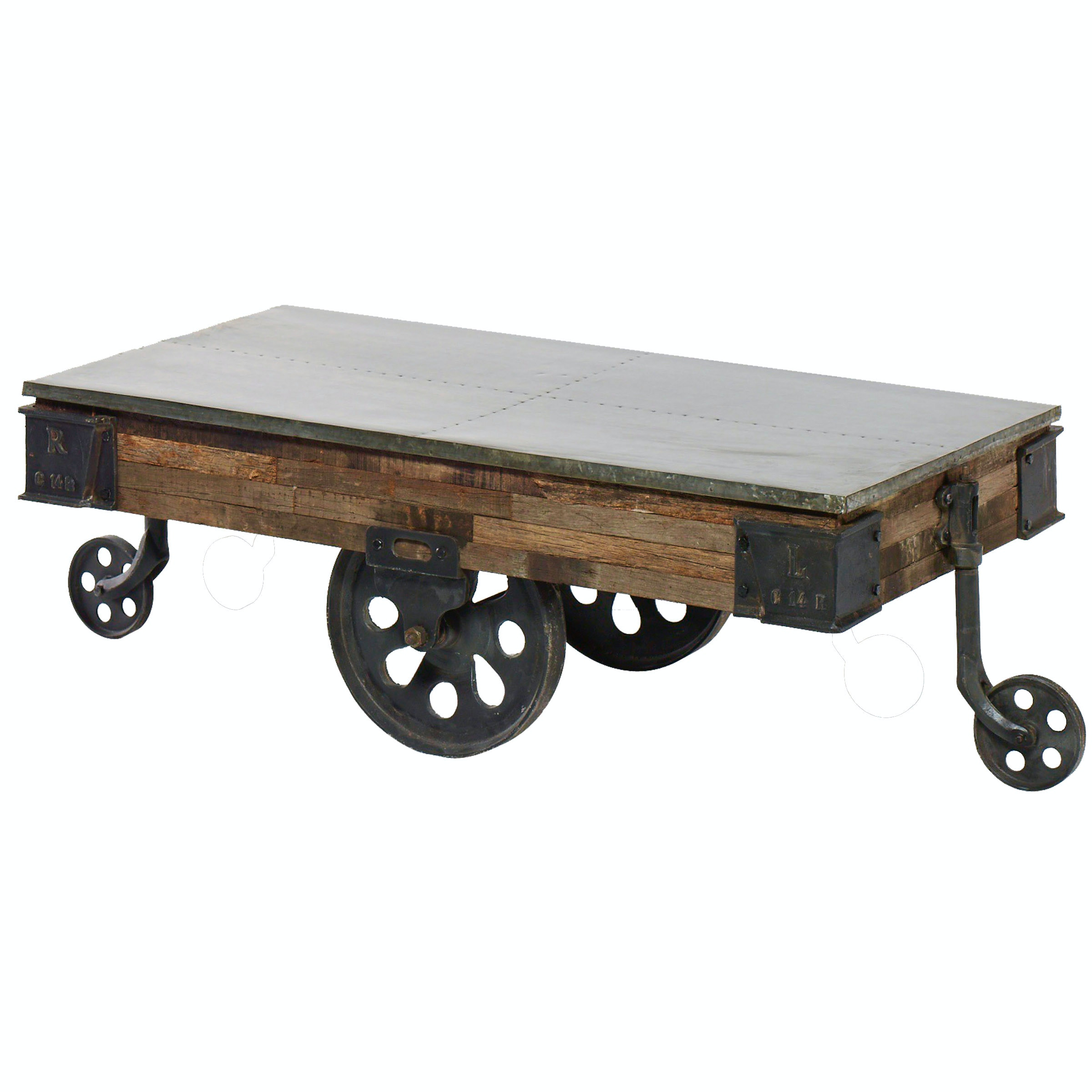 Harp And Finial MACKINAL COFFEE TABLE | Reclaimed Wood With Galvanized  Metal Top On Iron Wheels