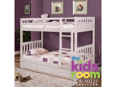 Kennedy White Twin Storage Bunkbed, Bedding FREE
