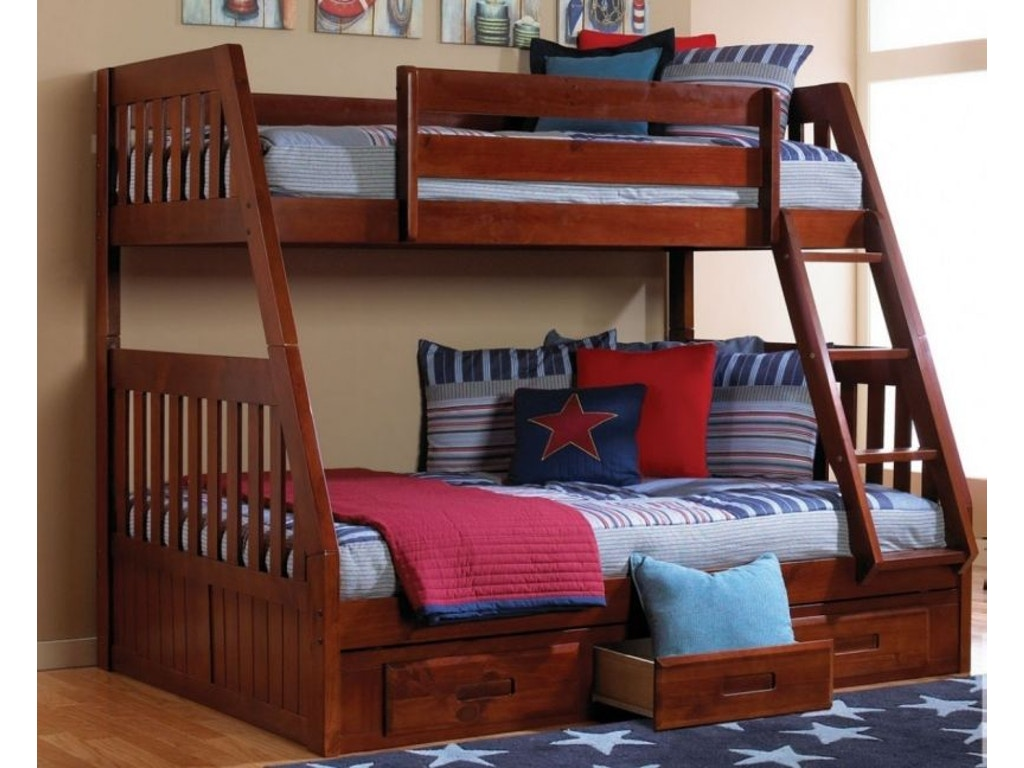 Discovery Furniture Youth Bedroom Casey Merlot Twin Over Full Bunkbed Mattress Free