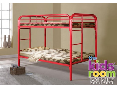 Easton Red Twin over Twin Metal Bunkbed