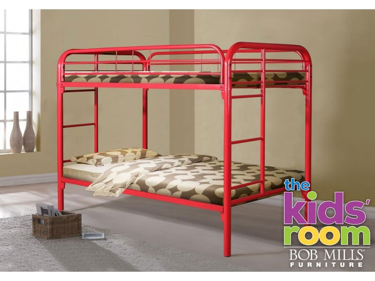 Discovery Furniture Easton Red Twin Metal Bunkbed Mattresses Free Kid Bunk Eastonred