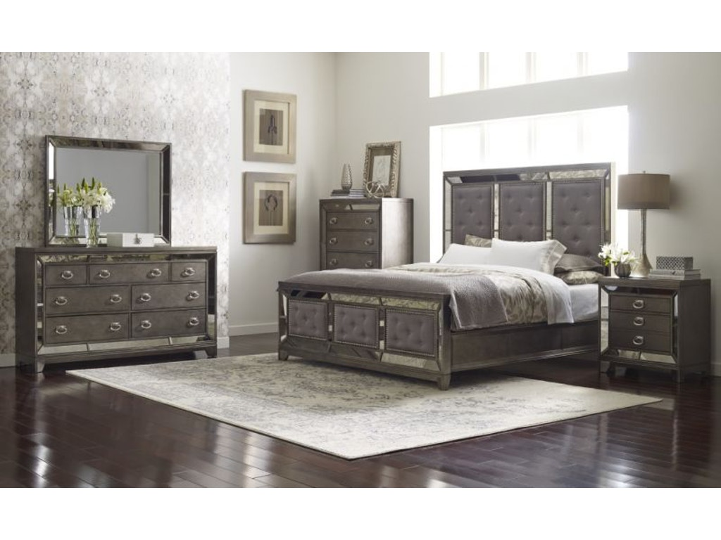 avalon lenox king bed dresser mirror and nightstand - Mirror Bed Frame