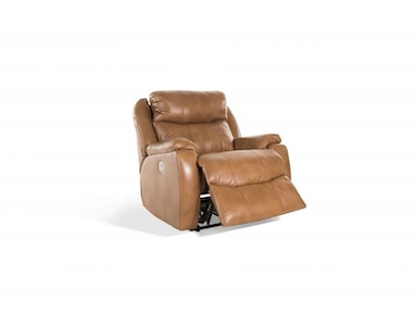 Oliver Toast Leather Power Recliner,Power Headrest