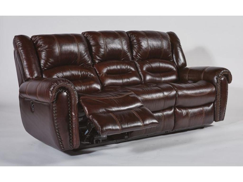 Flexsteel Living Room Bricktown Power Headrest Reclining Sofa