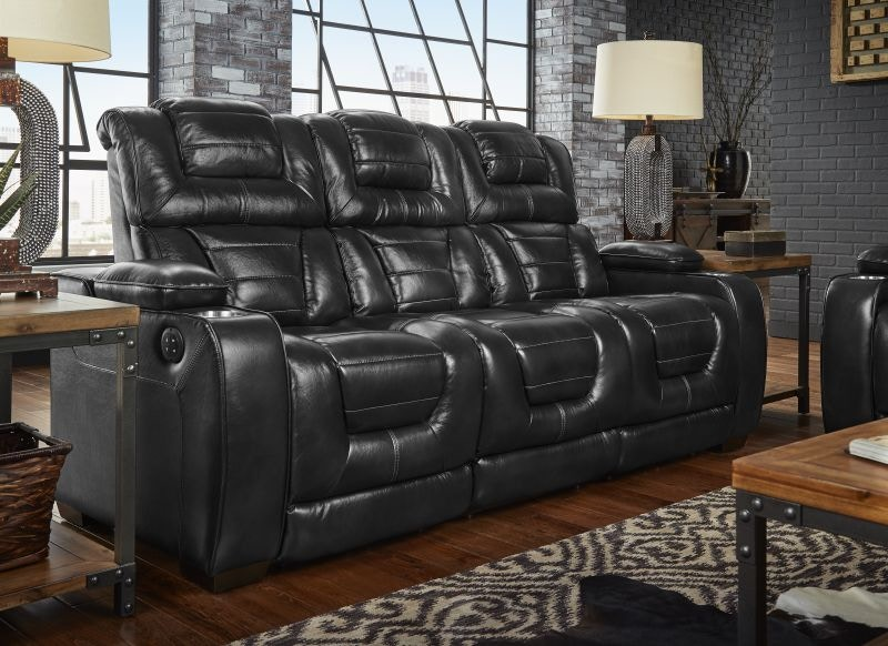 Corinthian Living Room Casabella Leather Power Headrest Reclining Sofa