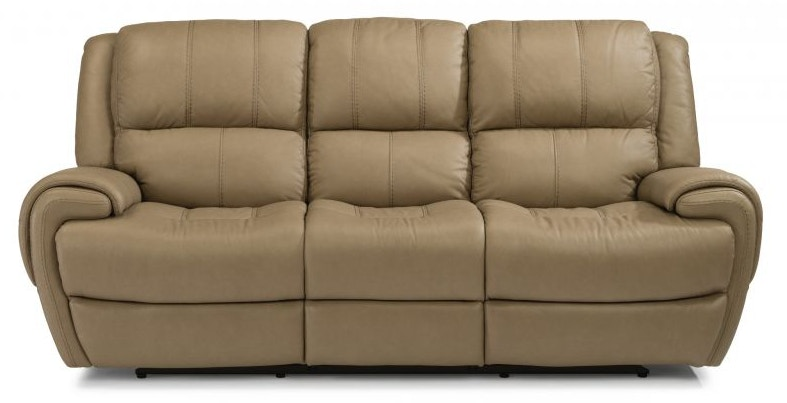 Flexsteel Living Room Jacob Leather Power Headrest Reclining Sofa
