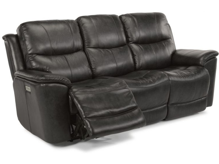 Flexsteel Ryan Leather Power Headrest And Lumbar Sofa