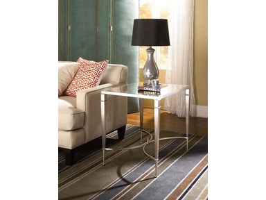 Mallory Mirrored Top End Table