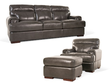 Pacific Leather Sofa, Chair and Ottoman