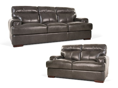 Pacific Leather Sofa and Loveseat