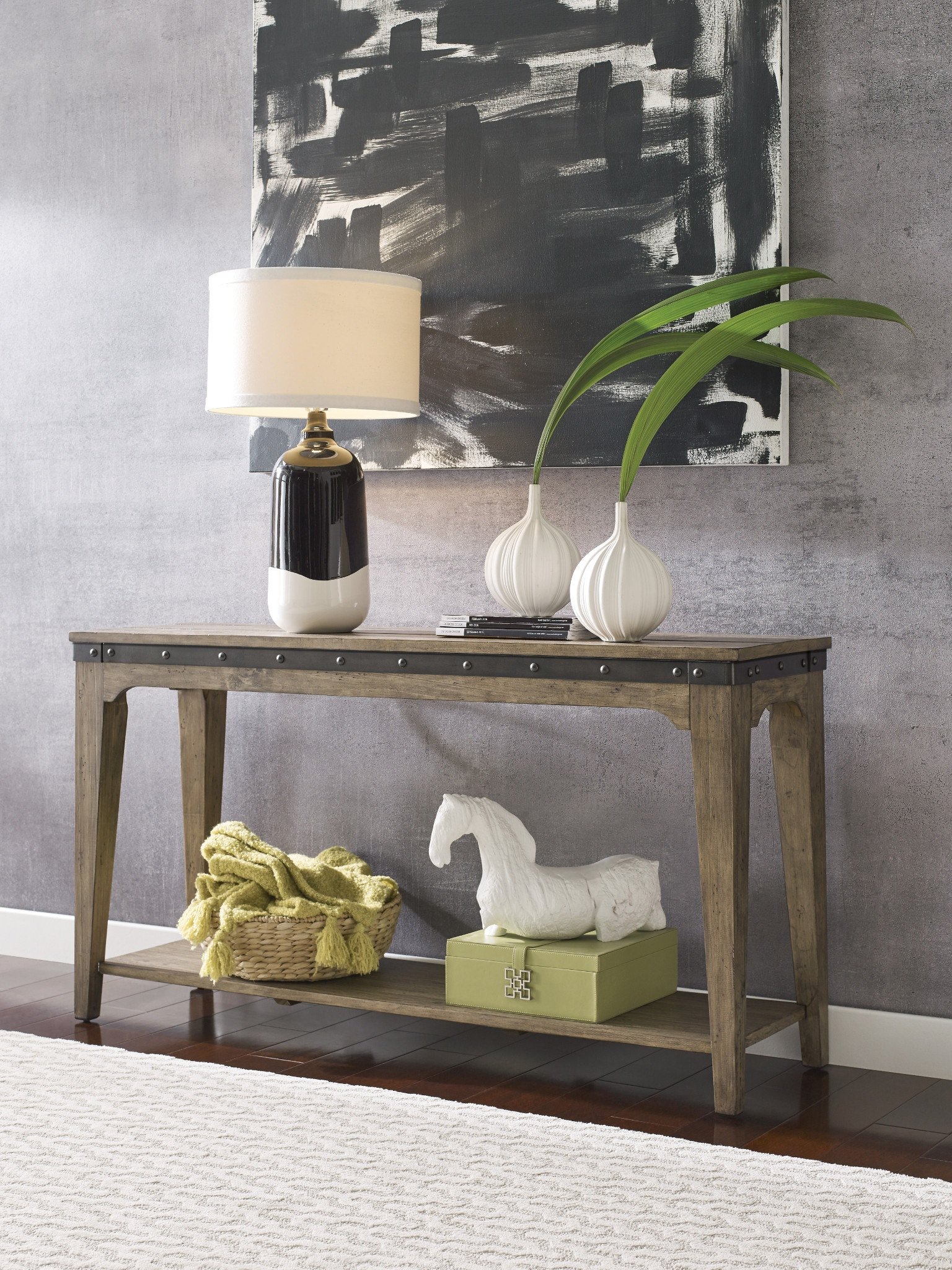 A Kincaid Furniture Plank Road Stone Hall Table OCCSOTBPLANKSTONE