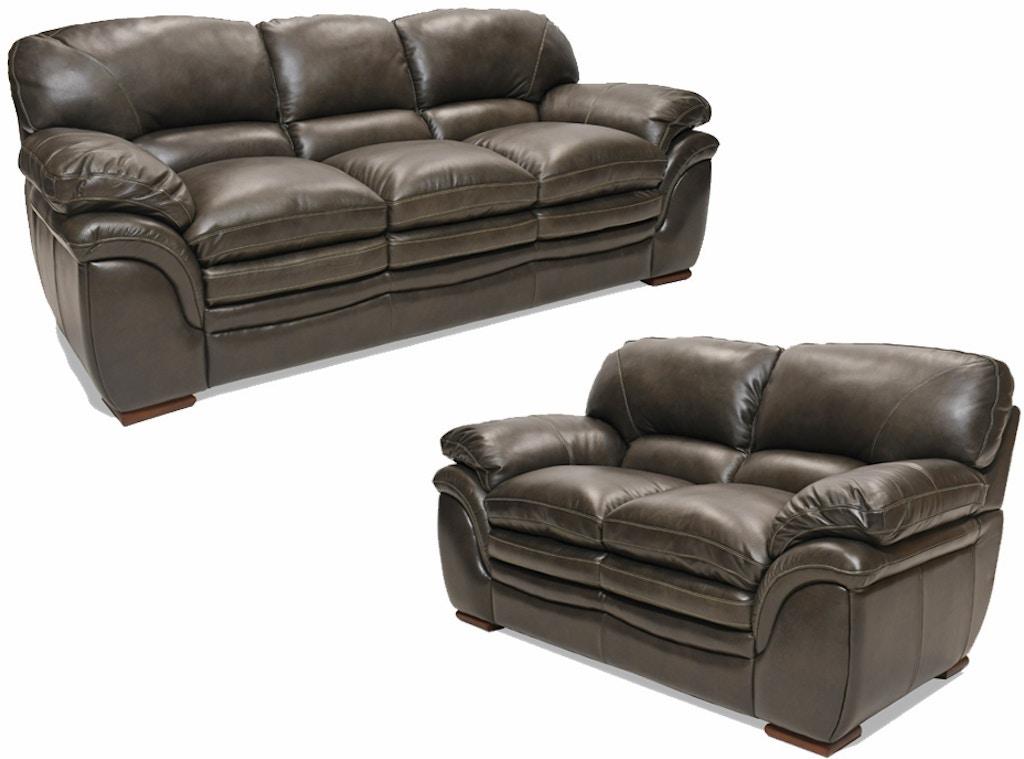 Santa Cruz Gray Leather Sofa and Loveseat