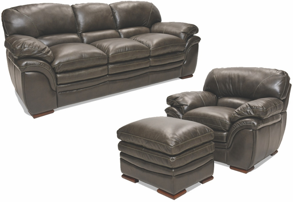 Amazing Santa Cruz Gray Leather Sofa Chair And Ottoman Creativecarmelina Interior Chair Design Creativecarmelinacom