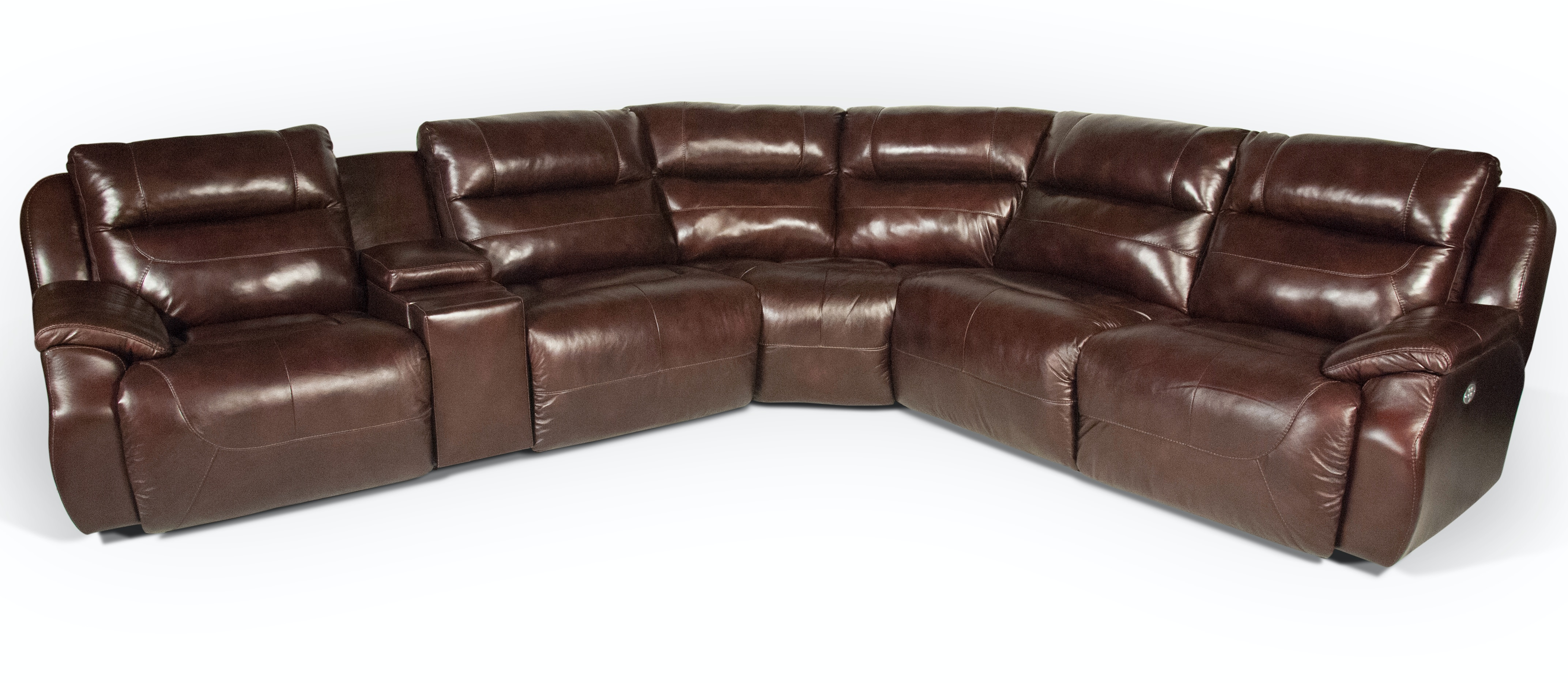 Star Leather Power Headrest, Reclining Sectional