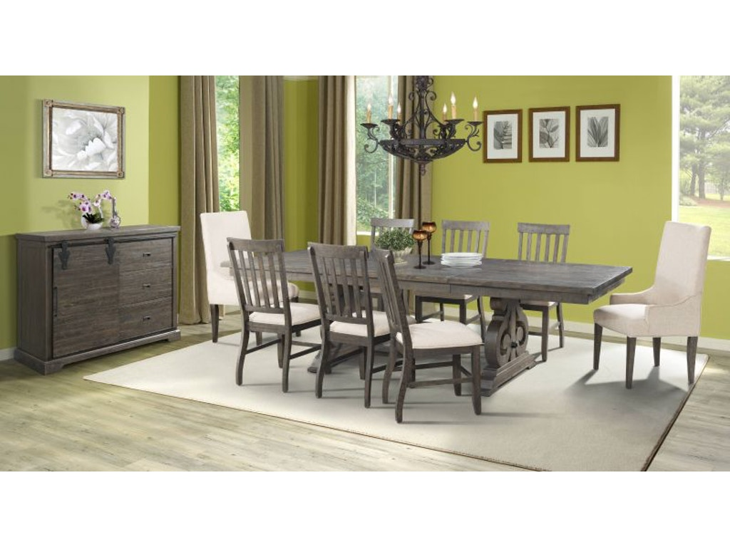 Elements Dining Room Stone Dining Table, 4 side, 2 arm, server FREE