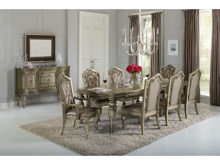 Avalon Swank Dining Table, 4 Side Chairs, 2 Arm Chairs SWANKDINE