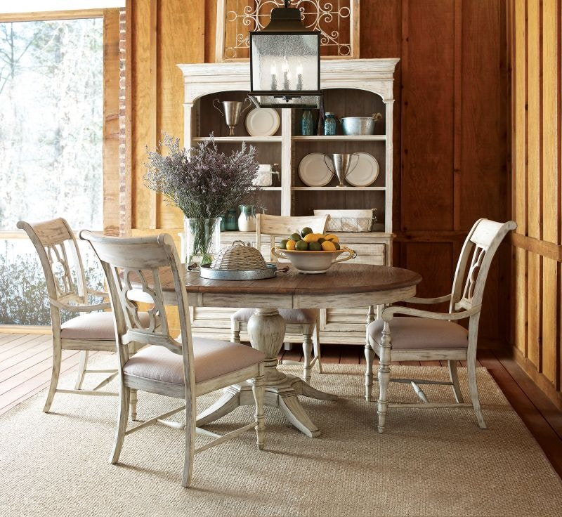 Kincaid Furniture Dining Room Weatherford Round Table and Four Chairs