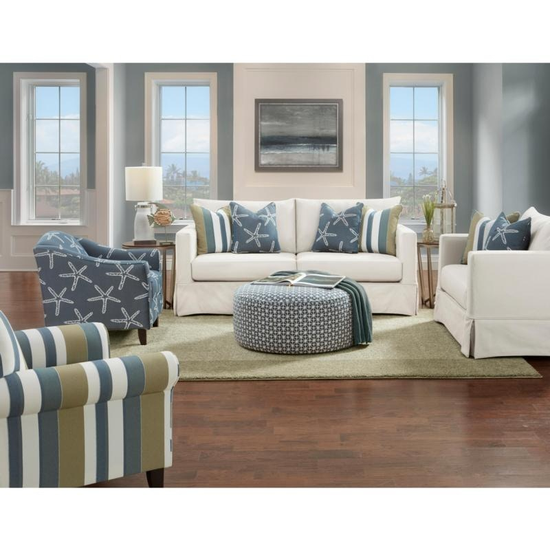 Fusion Living Room Slip Cover Chair 1/2, White Grande Linen. 806899 At  FurnitureLand
