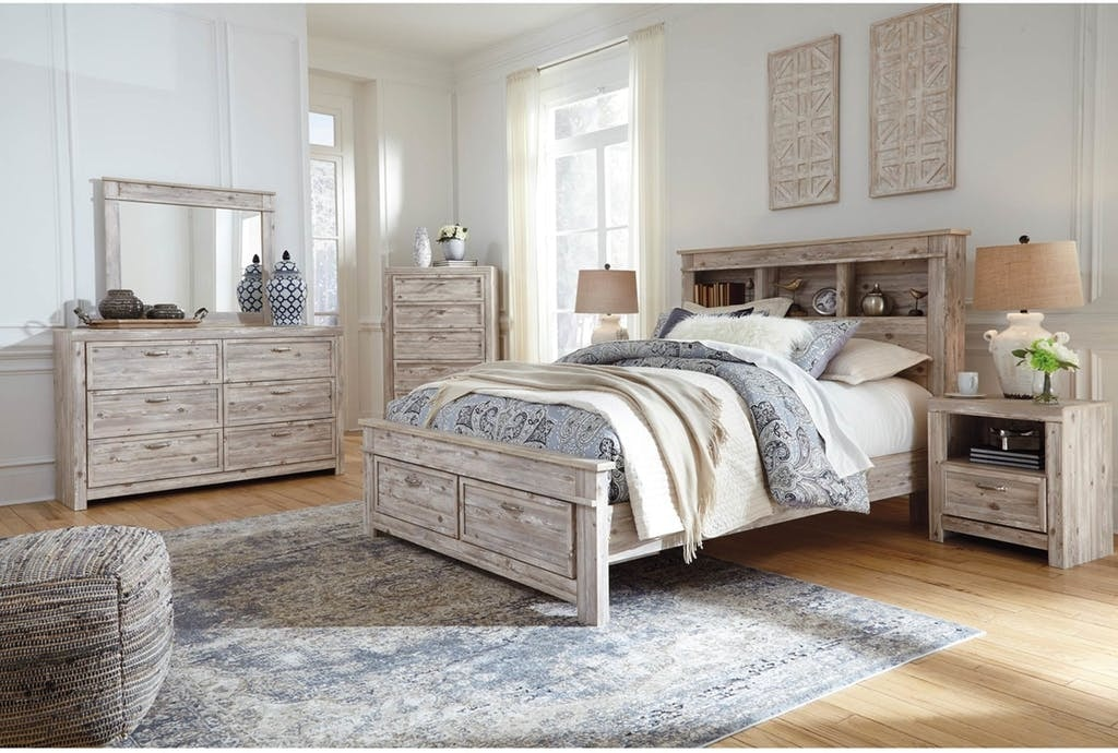 Queen Bed Set | Queen Bed with Bookcase Headboard, Dresser, Mirror,  Nightstand