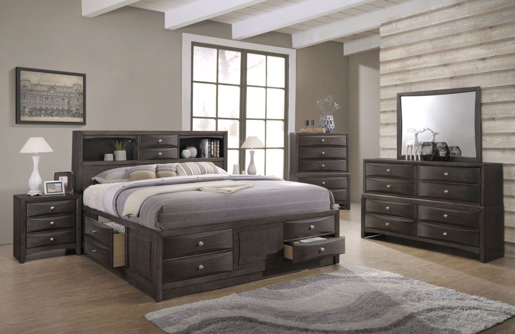 King Bed Set | King Storage Bed, Dresser, Mirror, and Night Stand