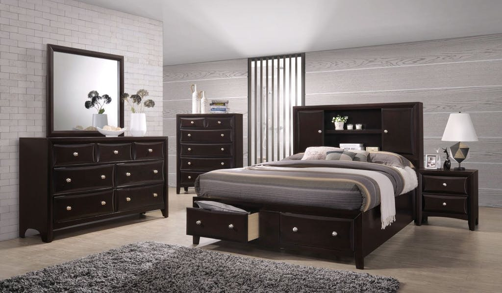 King Bed Set | King Storage Bed, Dresser, Mirror, Nightstand