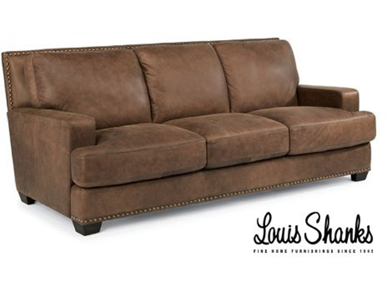 Flexsteel Living Room Navajo Brown Leather Sofa 1324-31 ...