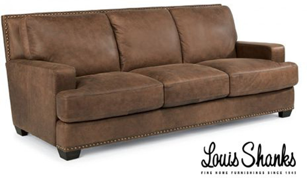 Fabulous Flexsteel Living Room Navajo Brown Leather Sofa 1324 31 Ocoug Best Dining Table And Chair Ideas Images Ocougorg