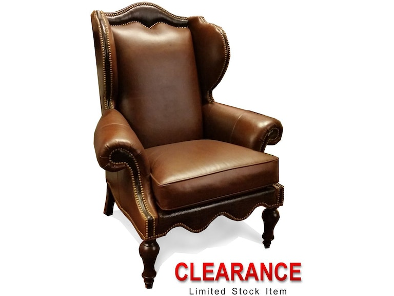 1608 01 Clearance Two Tone Leather Wing Chair Whittemore Sherrill Ltd