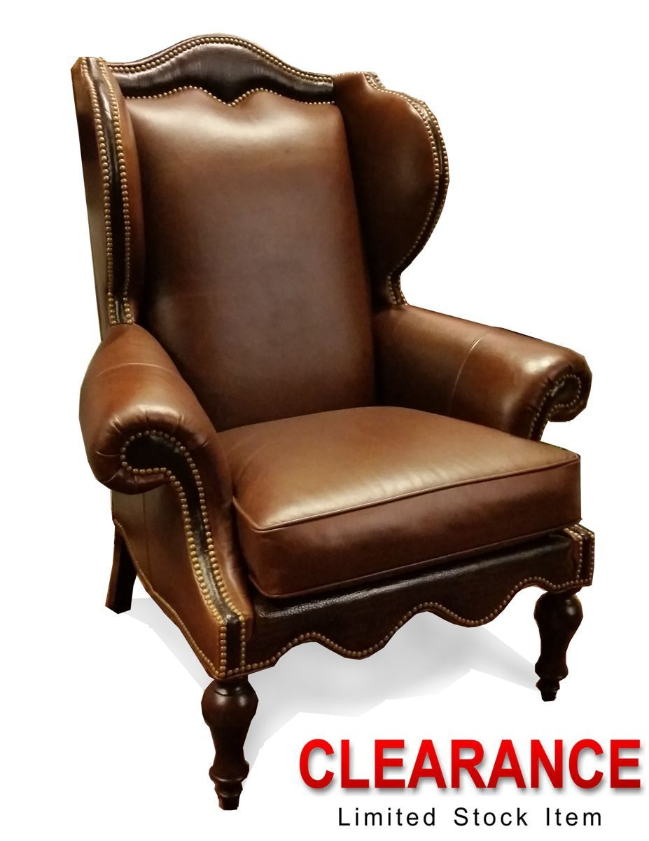 Two Tone Leather Wing Chair