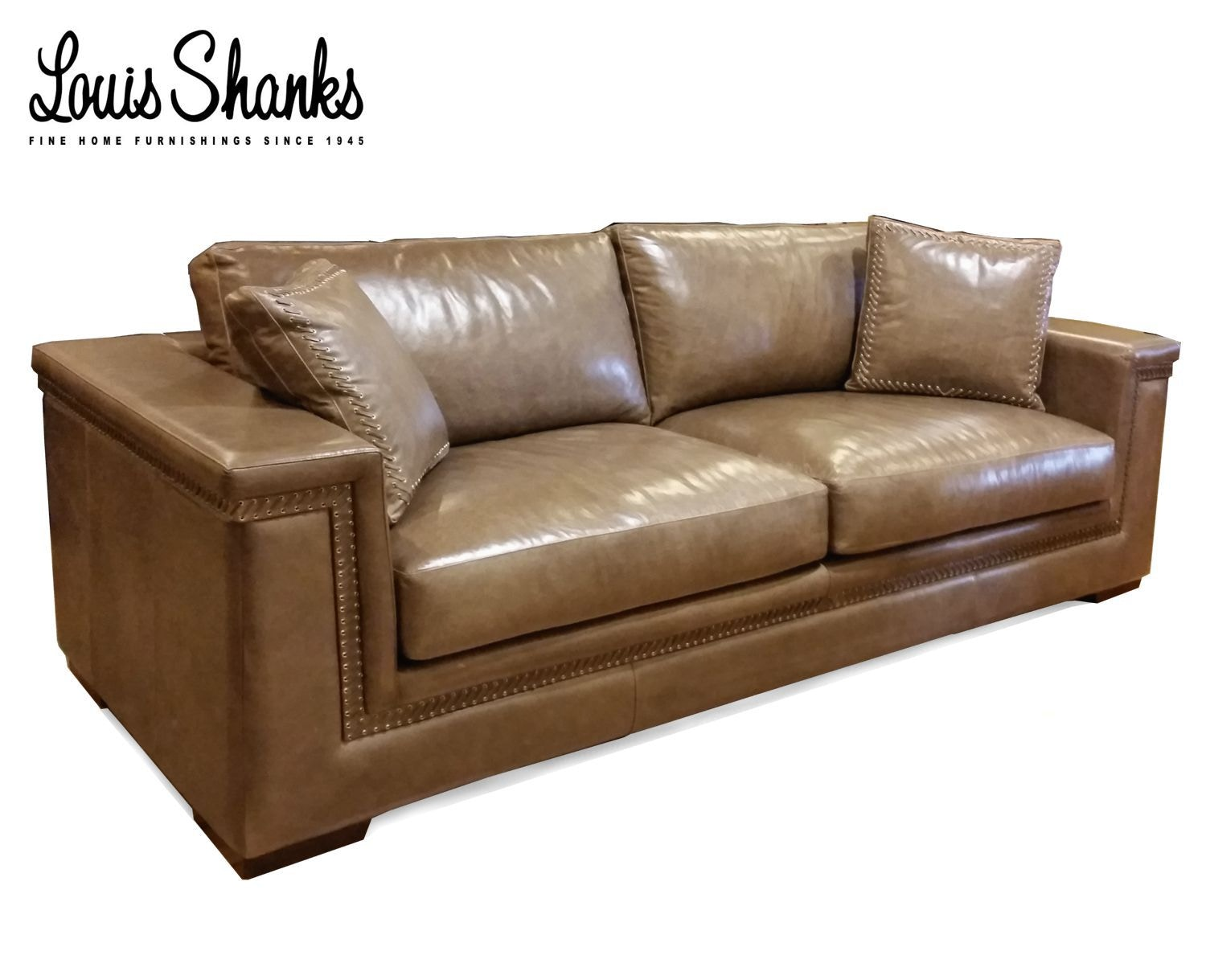 Beau Artistic Leather Leather Sofa With Hand Lacing