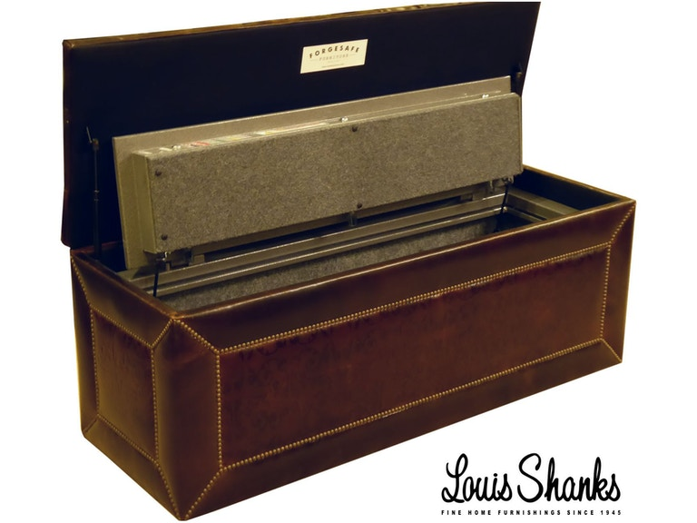 Massoud Living Room Leather Storage Bench With Gun Safe