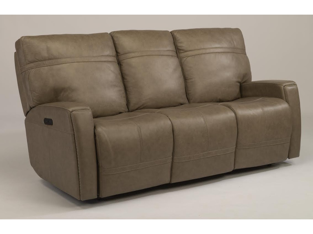 Flexsteel Living Room Bronx Granite Reclining Sofa With