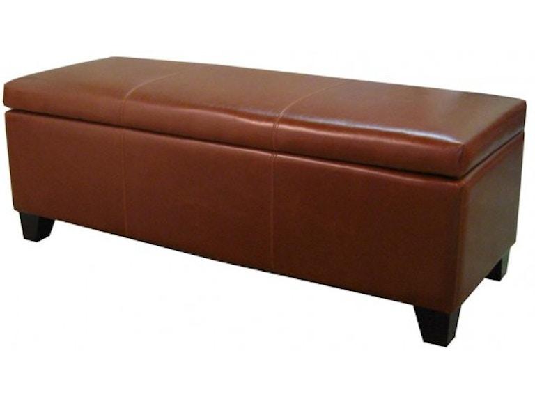 new arrivals 07172 40f0b Cognac Bonded Leather Storage Ottoman