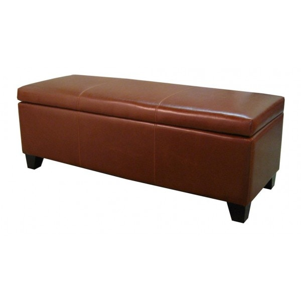 New Pacific Direct Cognac Bonded Leather Storage Ottoman 16882