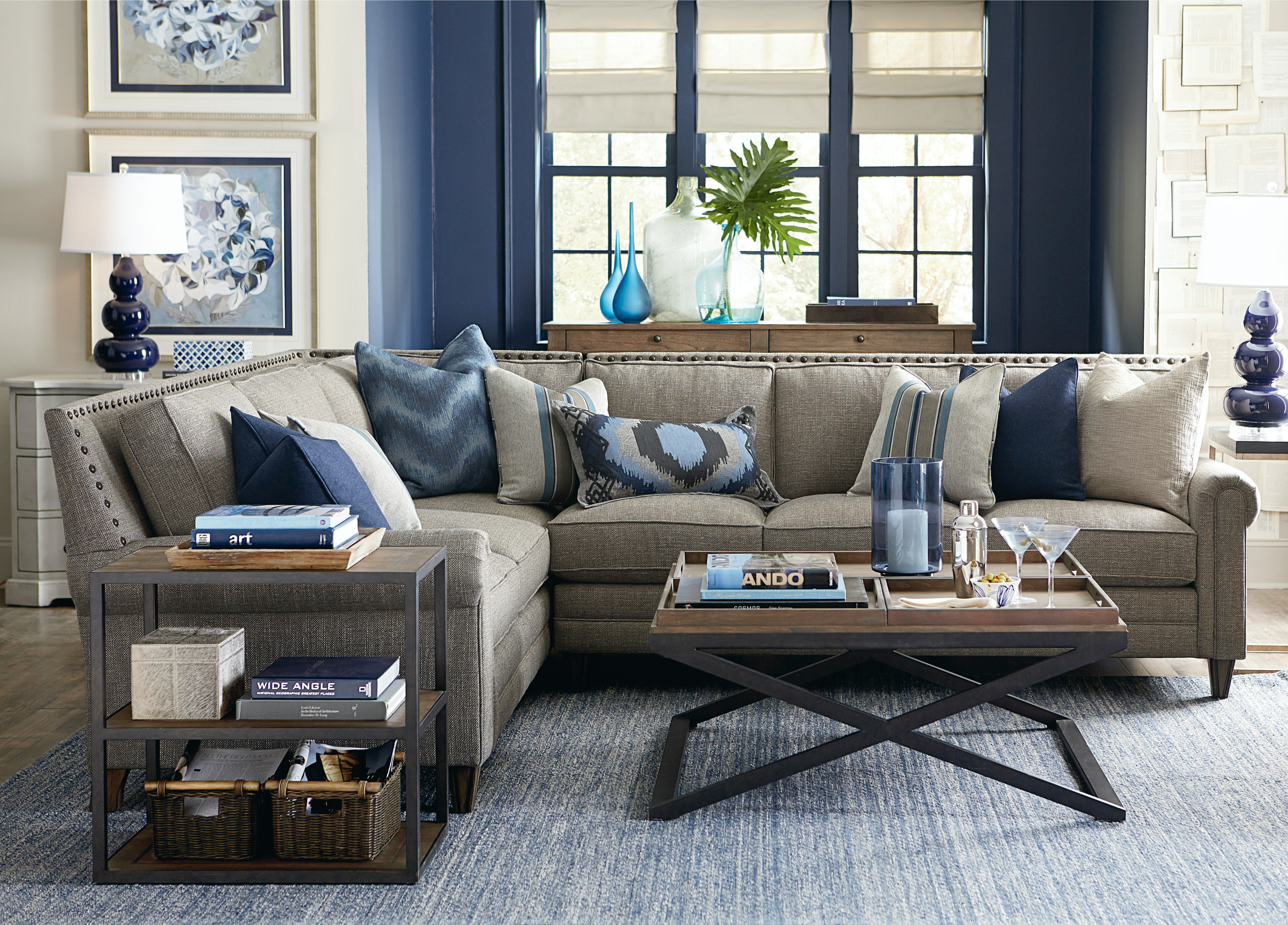 Bassett Harlan L Shaped Sectional with 3 Pillows