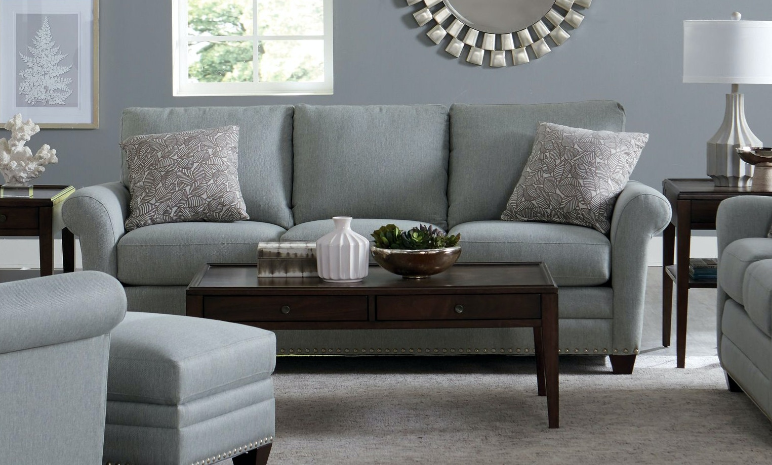 Attractive Bassett Sofa With Pillows 742638