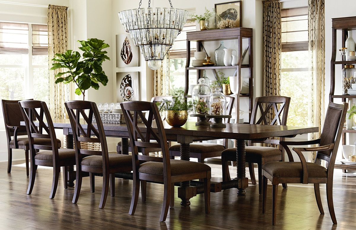 french rustic double pedestal dining table bassett dining room