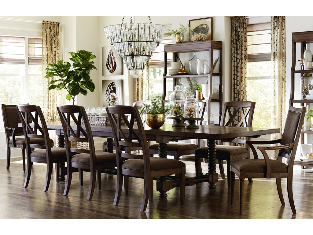 French Rustic Double Pedestal Dining Table Bassett Dining Room - Bassett dining room sets