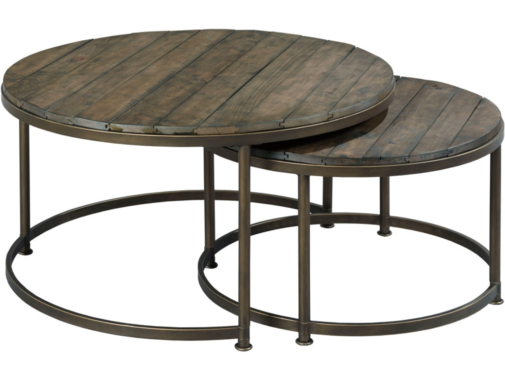 Hammary Leone Round Cocktail Table In Weathered Barn And