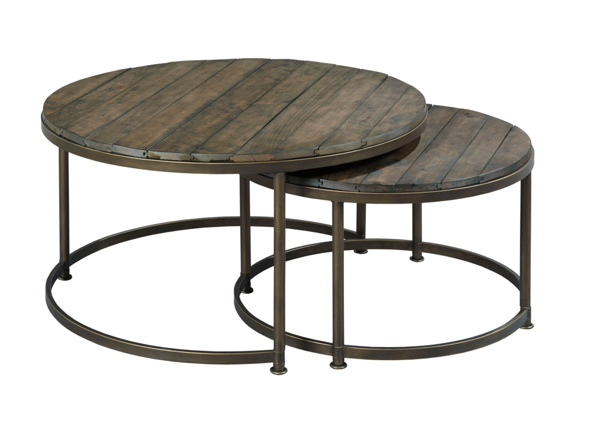 Hammary Leone Round Cocktail Table In Weathered Barn And Antique Brass  574266