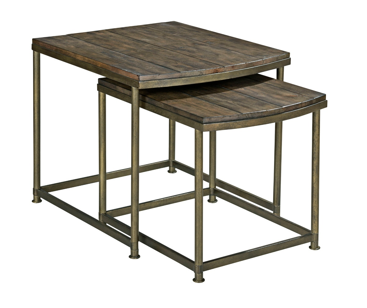Hammary Leone Nesting End Table In Weathered Barn And Antique Brass 574268
