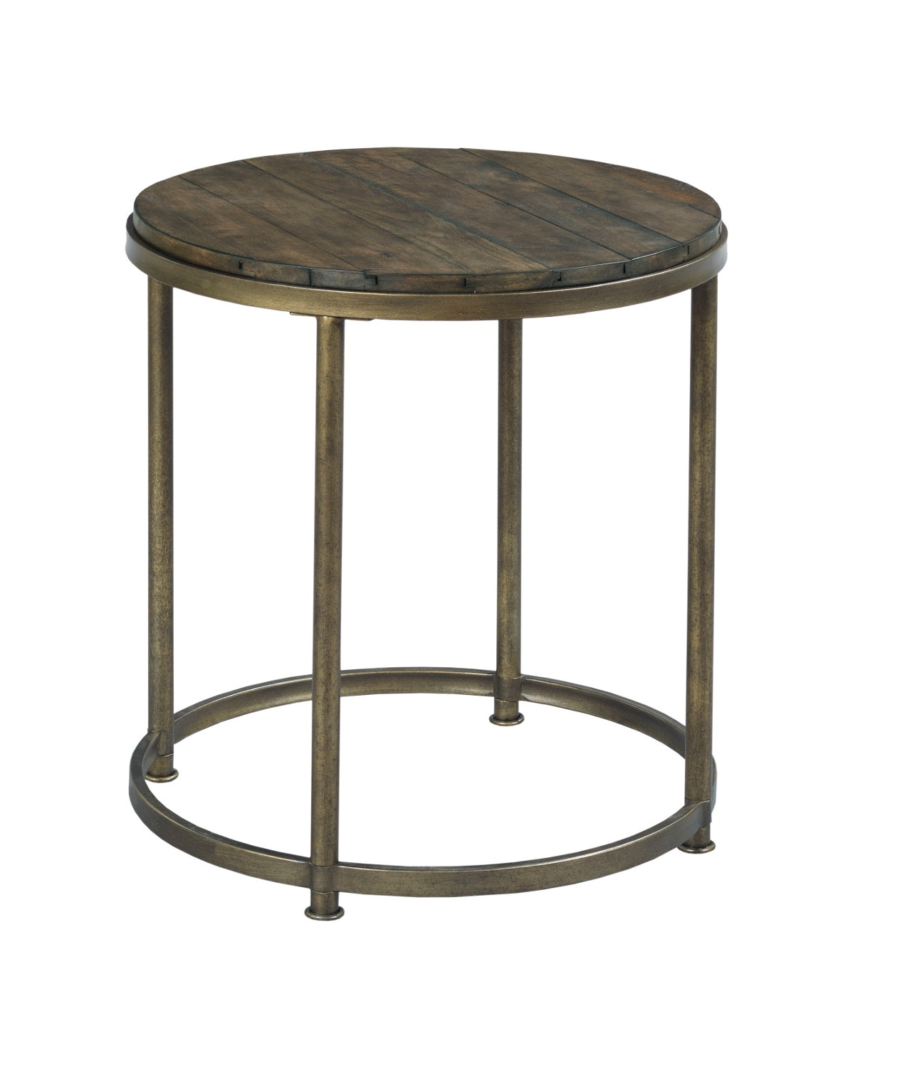 Leone Round End Table In Weathered Barn And Antique Brass