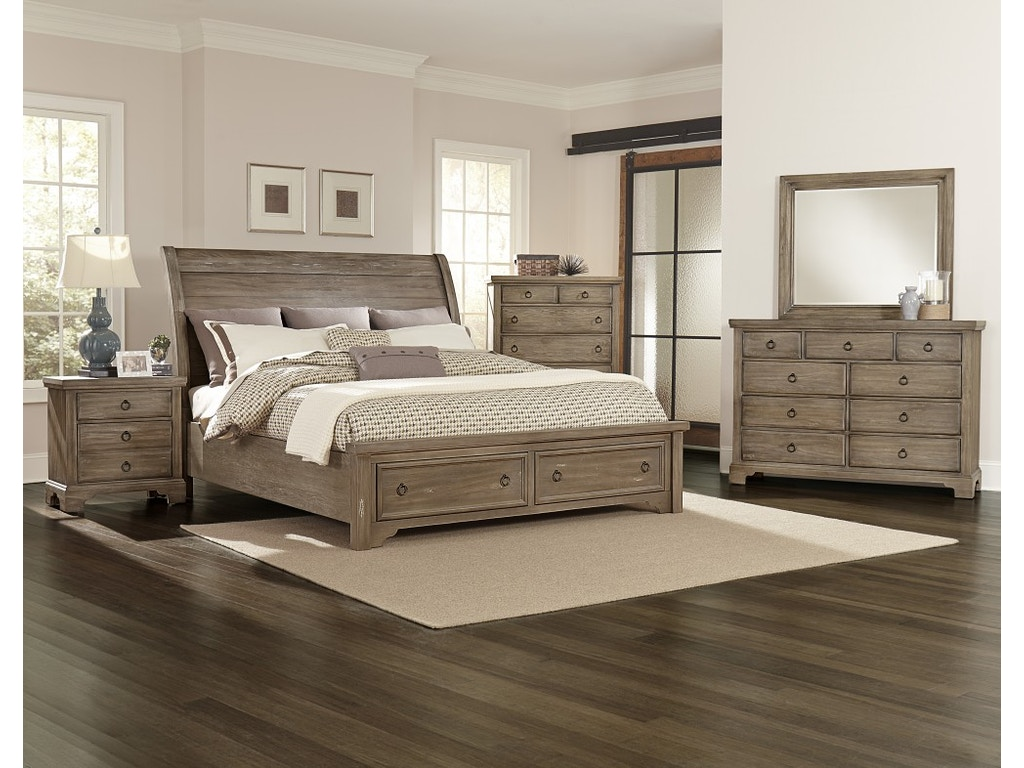 King storage beds with drawers - Vaughan Bassett King Storage Bed 680027