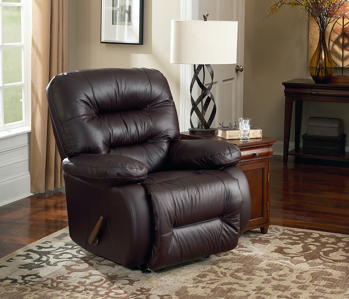 Best Home Furnishings Rocker Recliner In Burgundy Leather Seating 162471